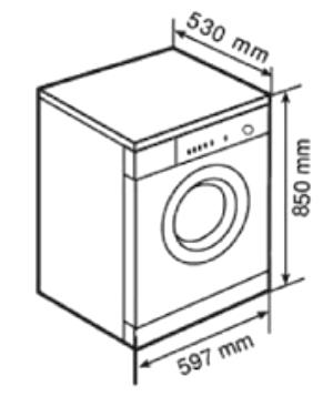 kích thước máy giặt cửa ngang 6kg