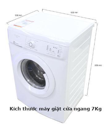 kích thước máy giặt cửa ngang 7kg