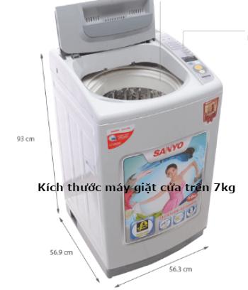 kích thước máy giặt cửa trên 7kg