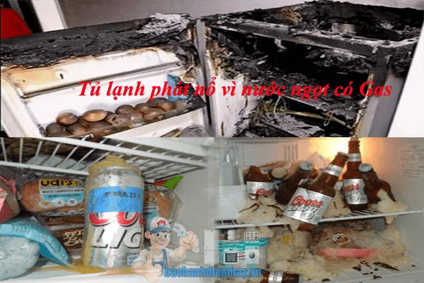 Tủ lạnh phát nổ vì nước ngọt có gas